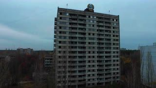 Abandoned multi-storey residential building in Pripyat, Chernobyl