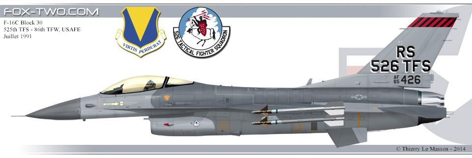 Profil d'un F 16C Block 30 du 526th TFS de l'US Air Force