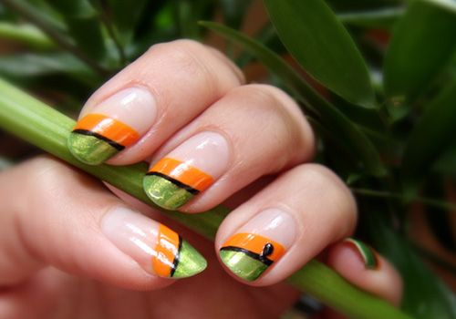 Orange And Green Diagonal Design Nail Art Green Nail Art Nail Polish Designs New Nail Art