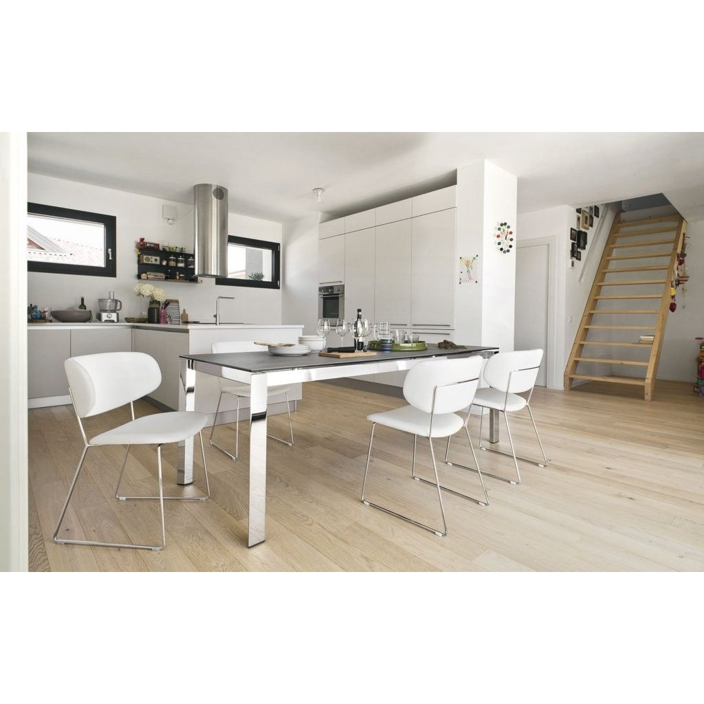 Contemporary Dining Table With Chrome Legs Telescopic Opening Mechanism Rotating Extension System When Opened The Follow In Length