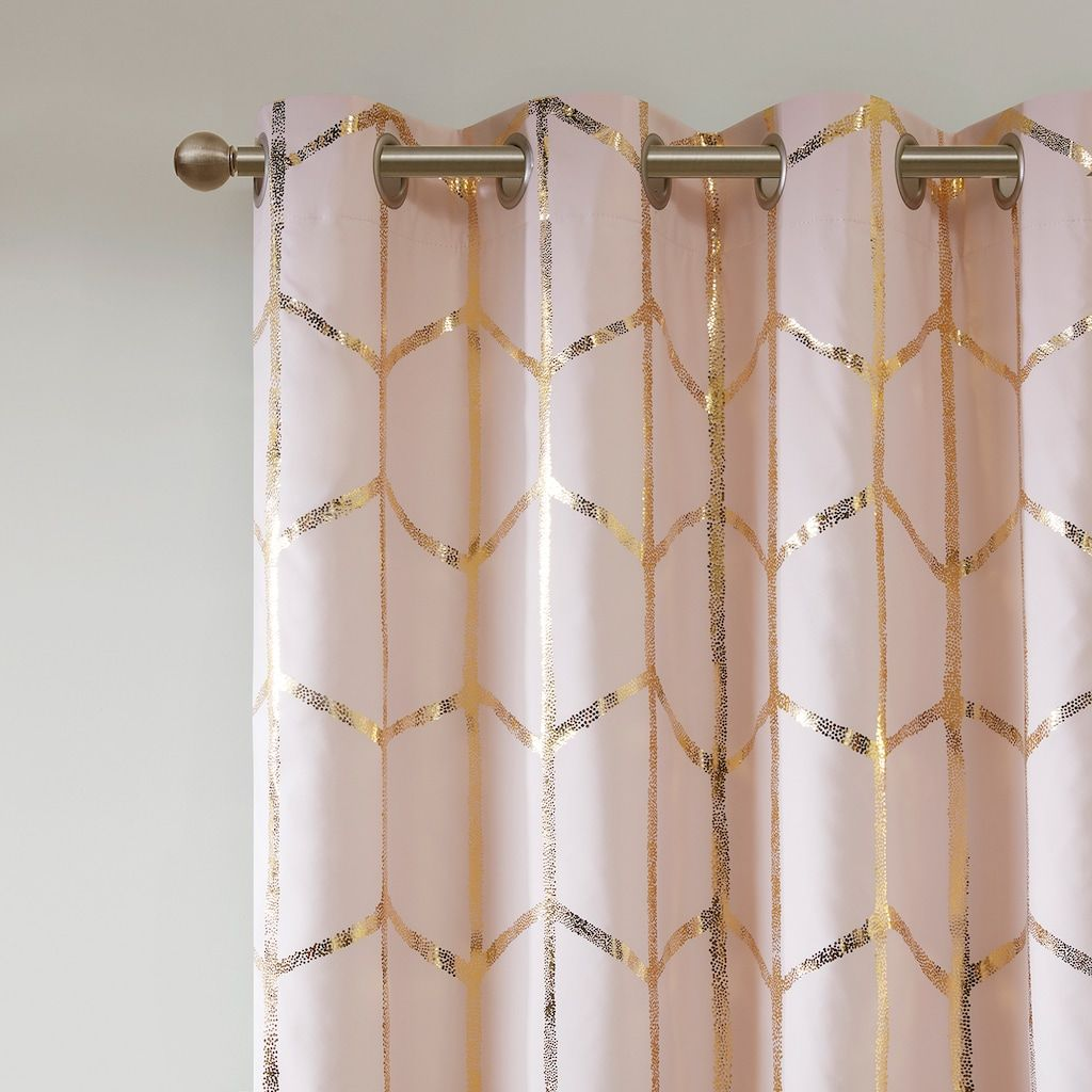 Intelligent Design Blackout 1 Panel Khloe Metallic Window Curtain Gold Room Decor Rose Gold Room Decor Gold Bedroom Decor