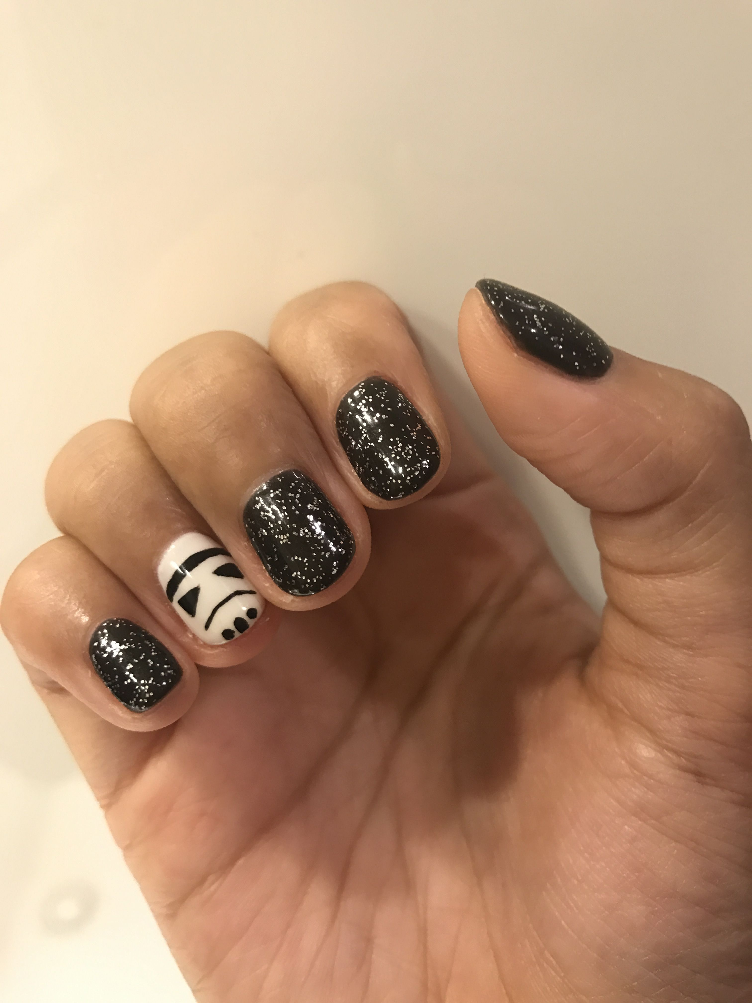 Star Wars Stormtrooper In Galaxy Simple Nail Art From Pinterest Star Wars Nails Trendy Nails Nails