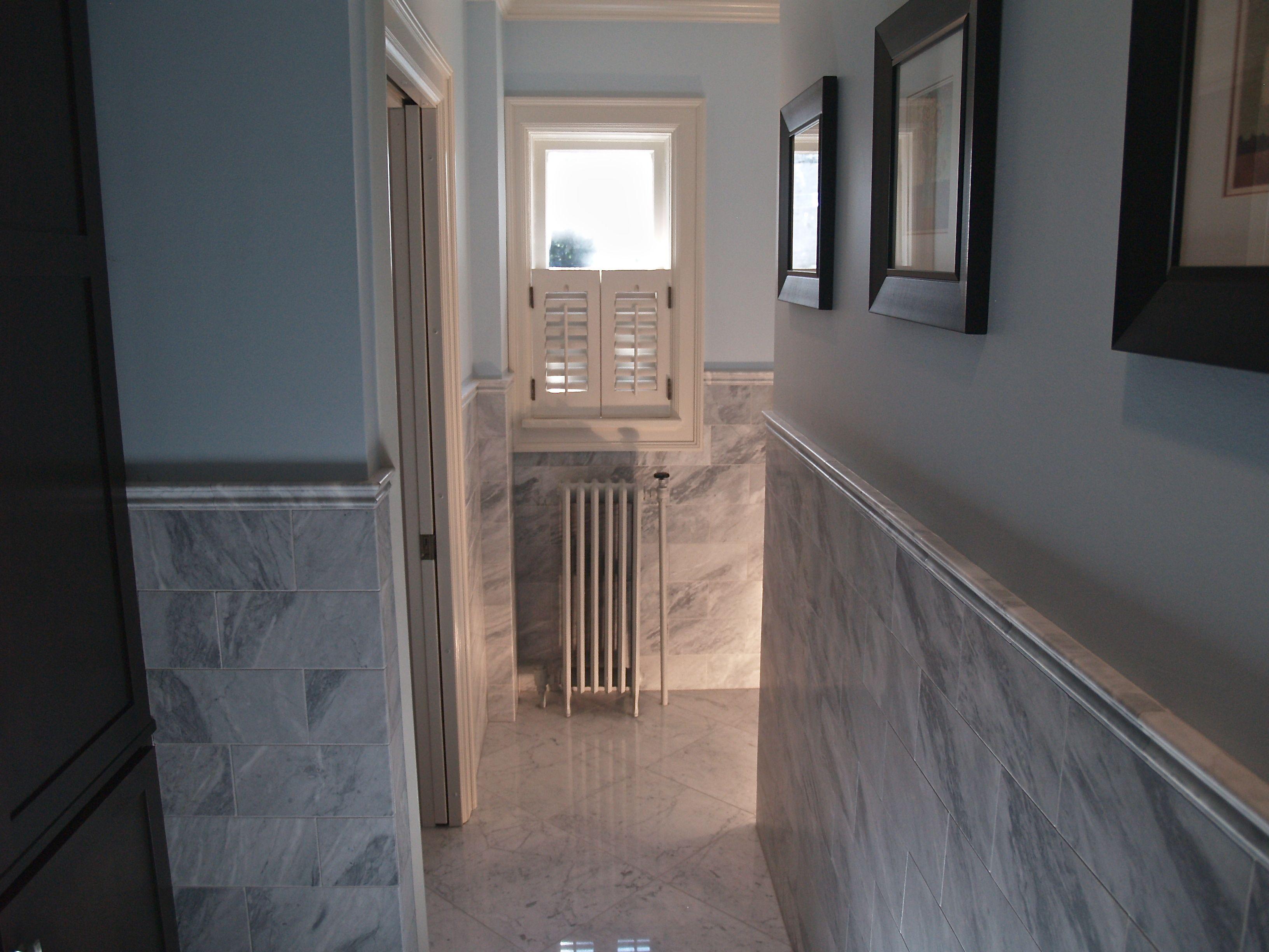Chair Rail Cap Part - 38: Carrara Gioia Marble Floors U0026 Walls With A Stunning Marble Chair Rail Cap-  Perfection!