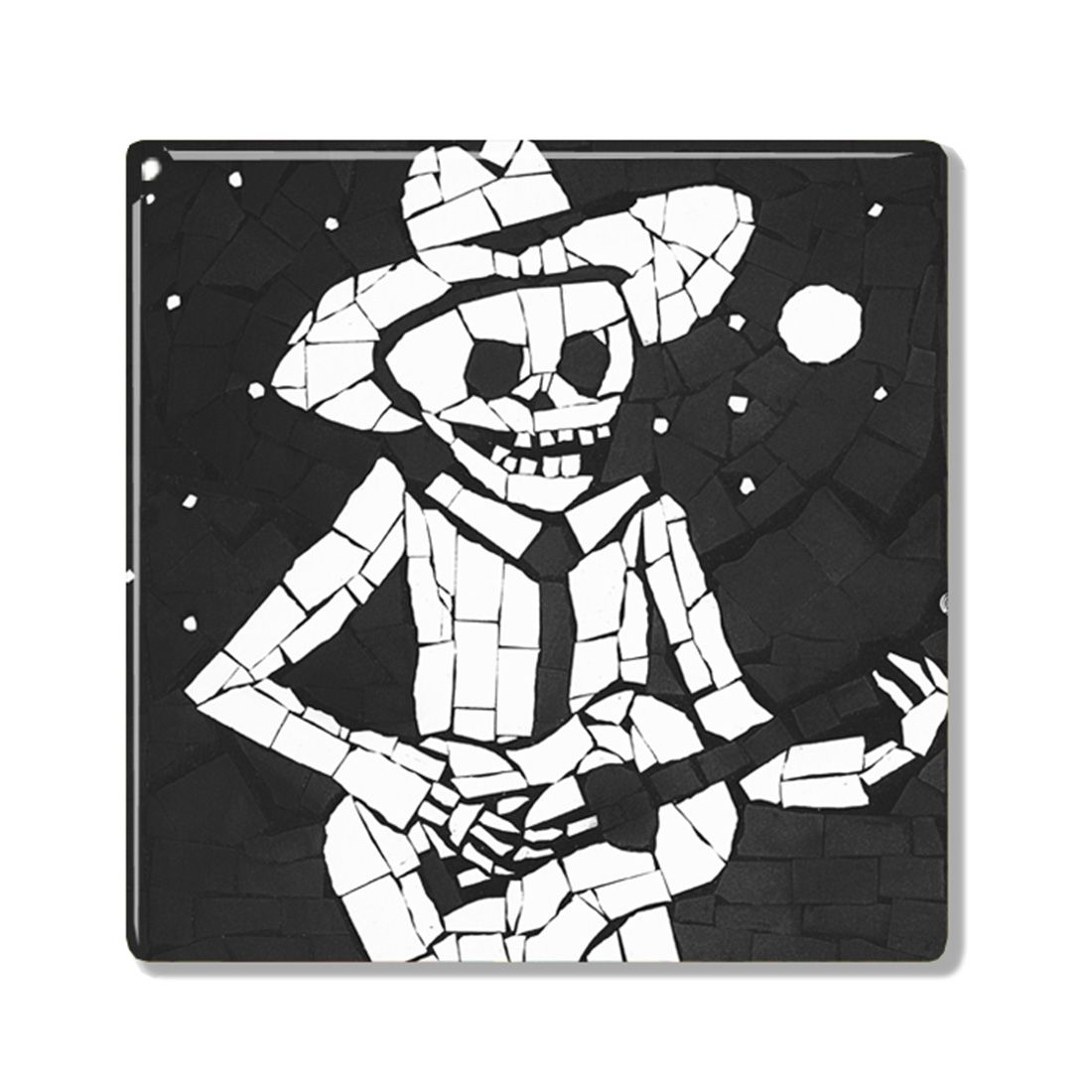 Juan playing guitar black and white day of the dead skeleton juan black and white ceramic coaster homeware tableware coasters dayofthedead diadelosmuertos dailygadgetfo Images