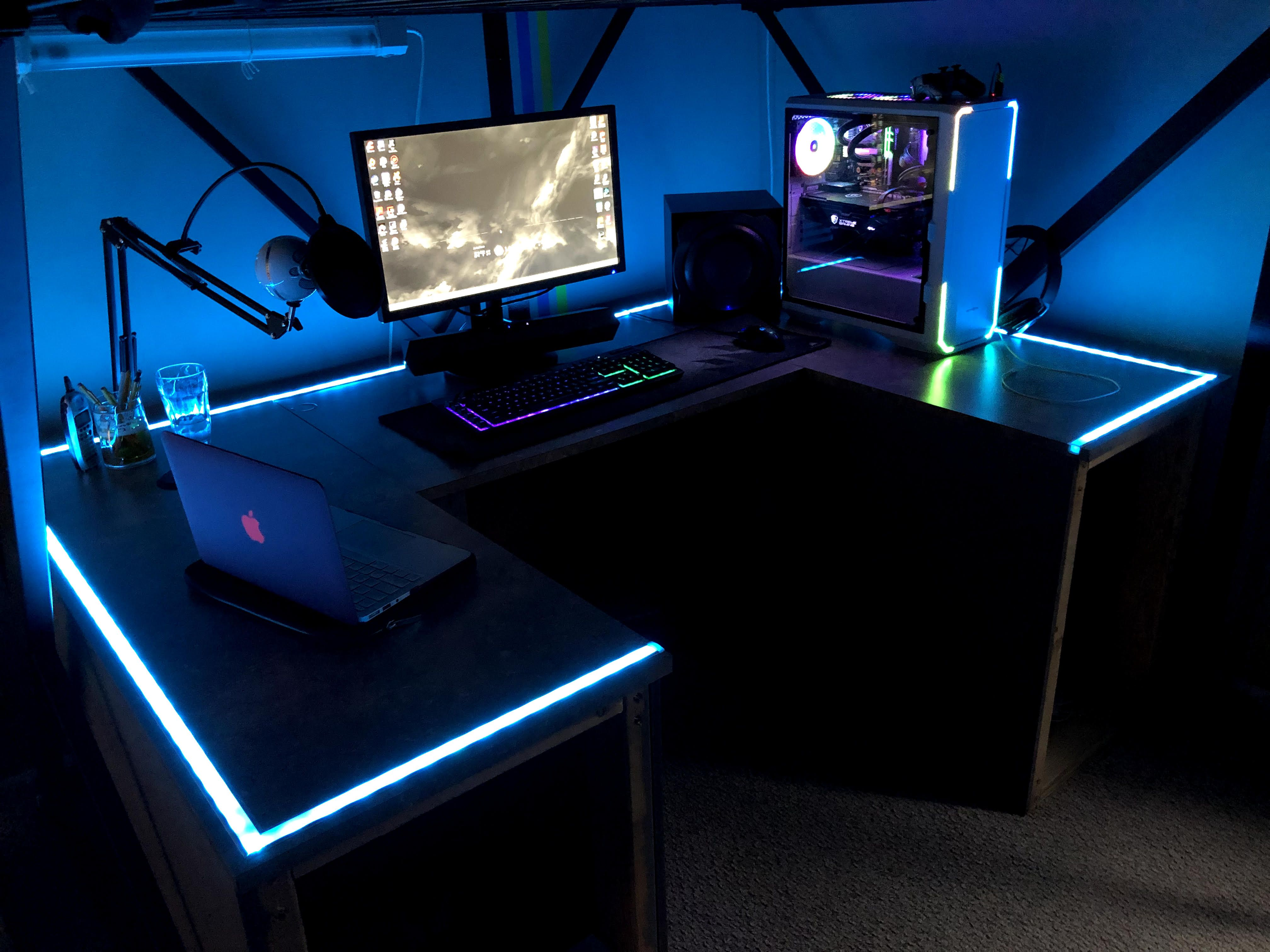 Custom Made Desk That Rgb Syncs With Music Video On The Website That You Will Need To Check Out Click Fo Gaming Desk Computer Desk Setup Custom Gaming Desk