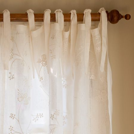 This Sheer Linen Voile Curtain Panel Is Embroidered With An All