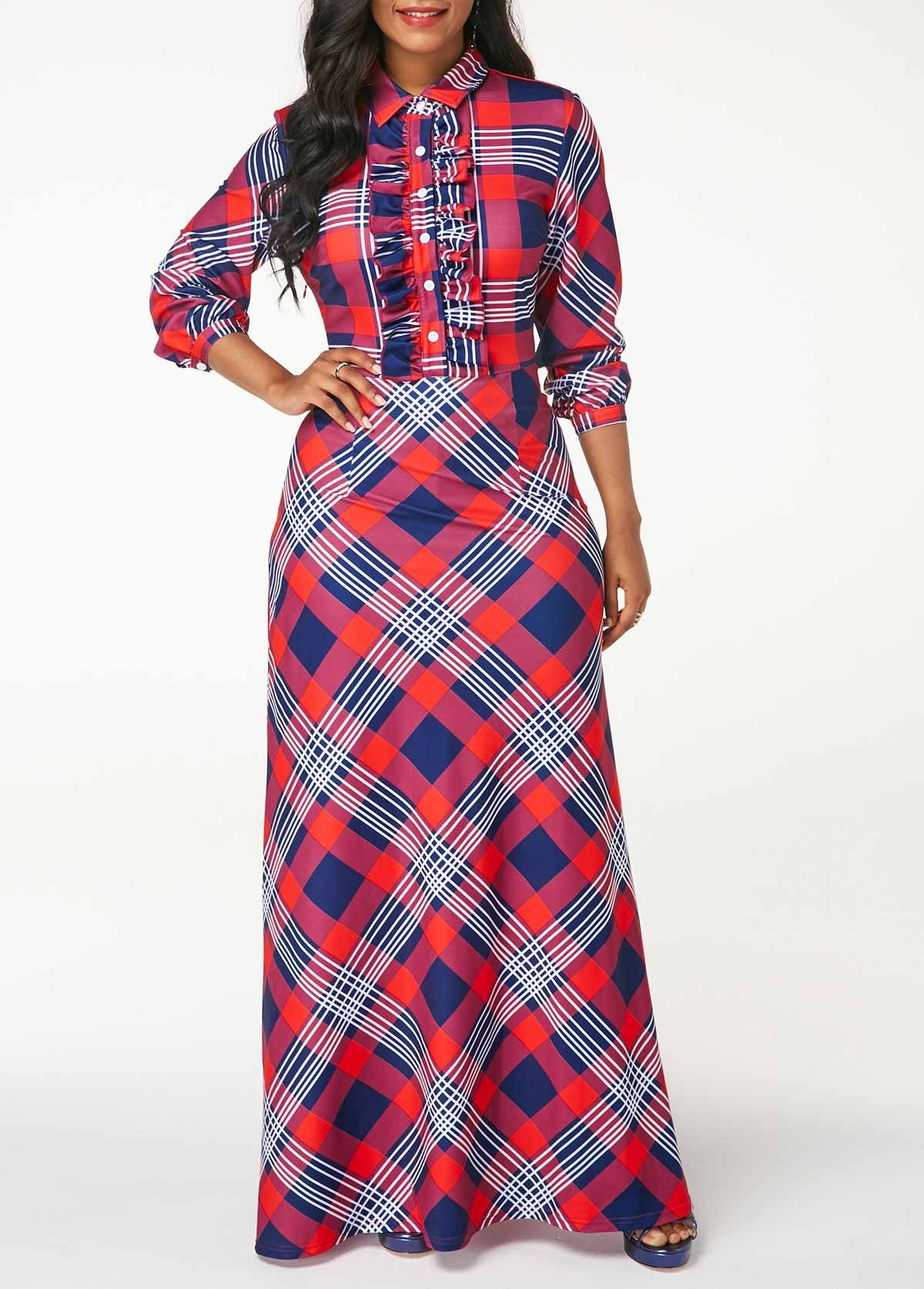 Printed long sleeve button front maxi dress clothing and style