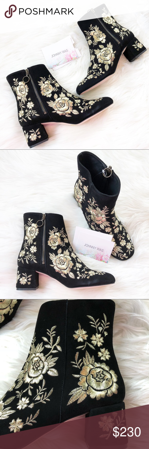 Johnny was black retro embroidered metallic bootie size chart on their websites says this is  us suede with leather lining also nwt my posh rh pinterest