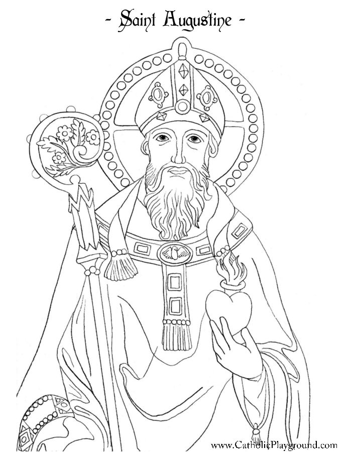 Saint Augustine Coloring Page Catholic Playground Coloring