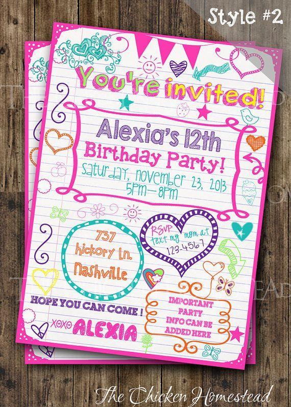 Tween Birthday Teen invitation Sleepover notebook doodle