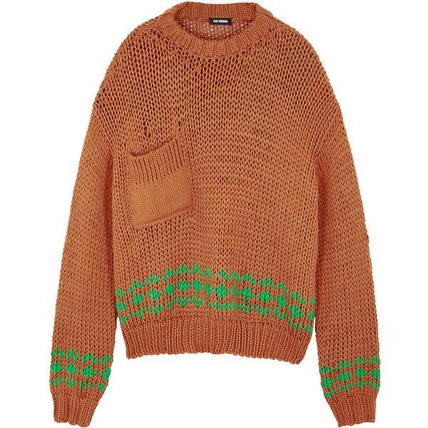 Raf Simons Burnt Orange Chunky Knit Wool Jumper Size S 1270