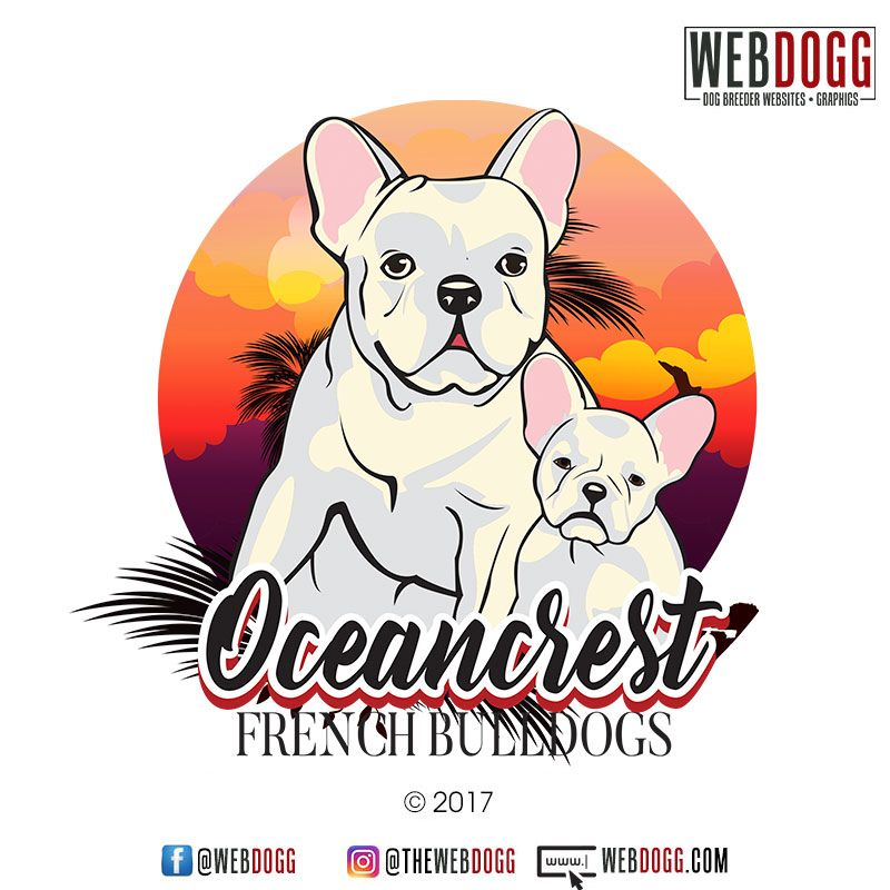 Oceancrest French Bulldogs Custom Logo Design Vector Art