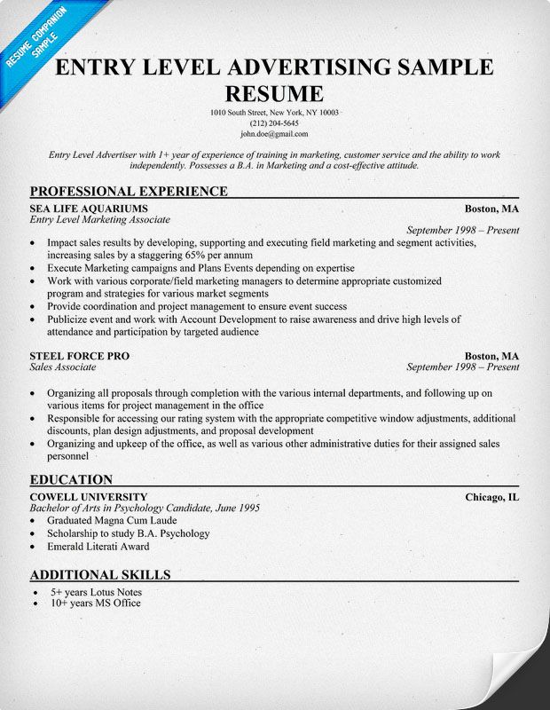 Free Entry Level Advertising Resume Example (resumecompanion - entry level resume format