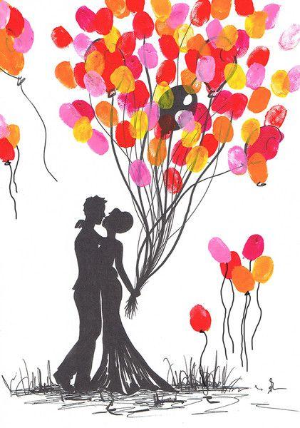 Hochzeitsgästebuch Wedding Tree Fingerabdruck Hochzeit