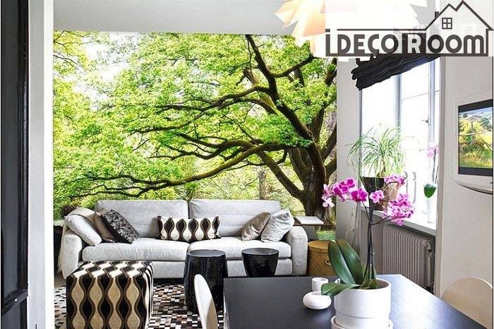 Green Tree Wall Paper Wall Print Decal Wall Deco Indoor Wall Mural Wallpaper  Family Business Decor Part 97