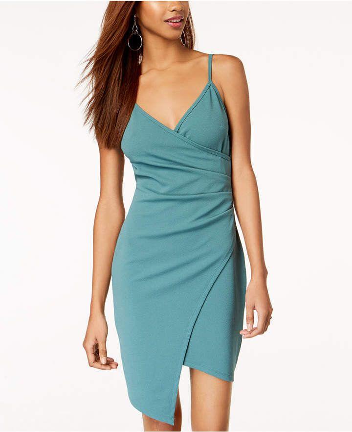 Almost Famous Juniors  Sleeveless Faux-Wrap Dress - Black XXS ... 5f9e83625