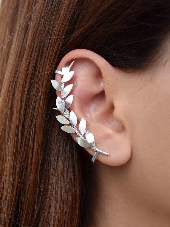 Leaf Earrings in Silver 925 Sterling Silver Olive Branch Ear Climbers