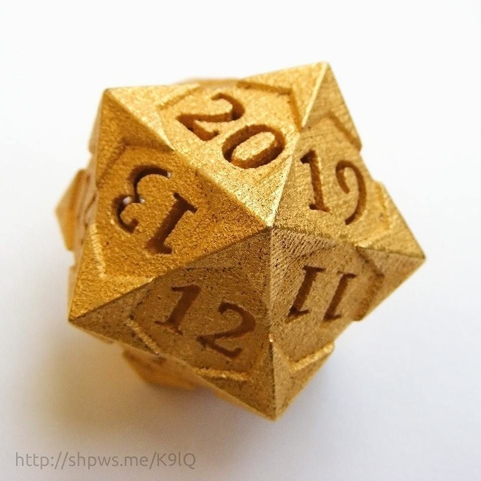 This is my new 'Starry' design for a d20 spindown life counter die. This one is 3d printed in gold finished steel. I will be designing the other dice in this over the coming weeks.  This d20 as well all my other designs are available at https://goo.gl/QimFZ5  #dice #3dprinting #shapeways #d20 #dnd #nerds #diceporn #dungeonsanddragons #rpg #tabletopgaming #mtg #magicthegathering #spindown #lifecounter #metaldice #star #stars #starry by tiny_tokens