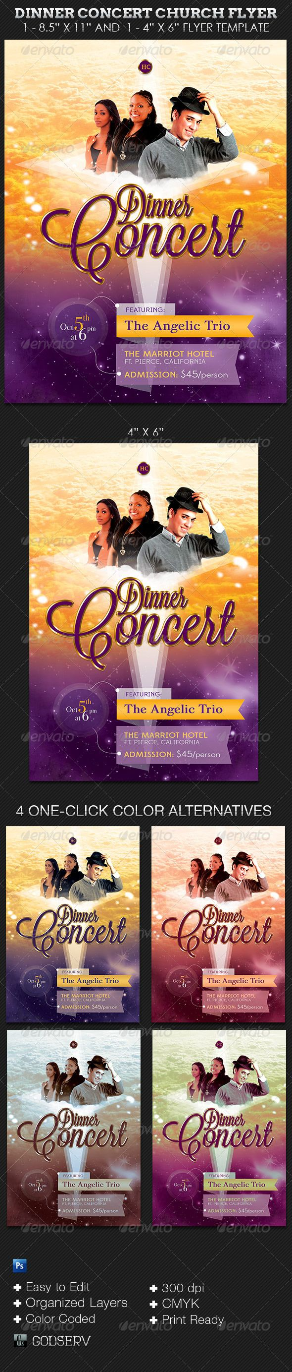 Dinner Concert Church Flyer Template  Flyer Template Template