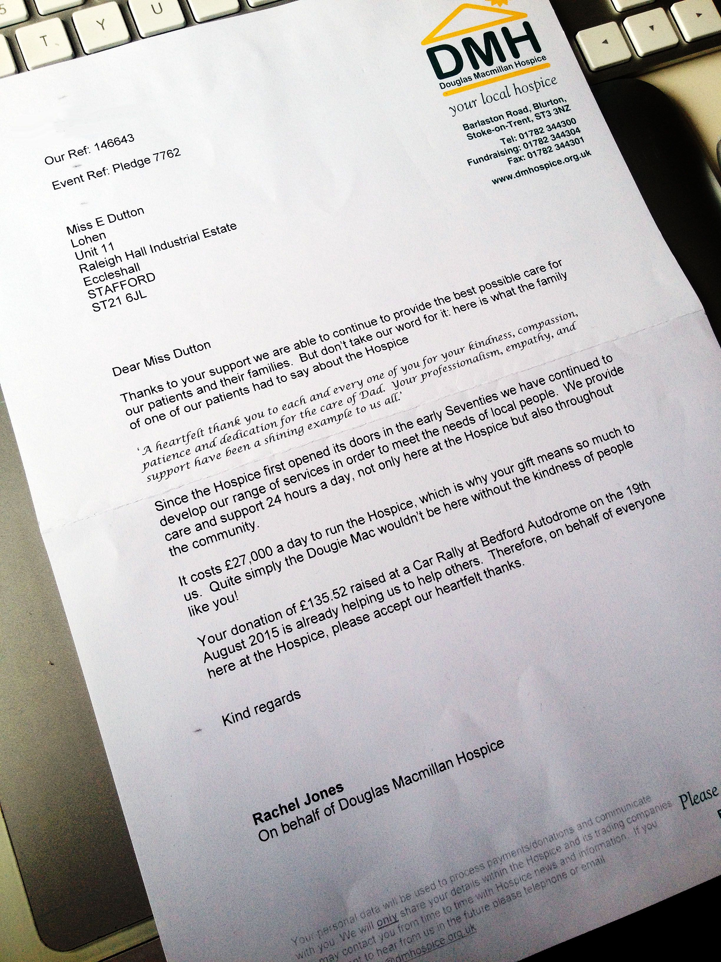 A letter of thanks from Douglas Macmillan Hospice for money raised