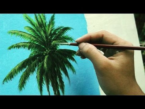 Learn How To Paint Coconut Tree Instructional Acrylic Painting