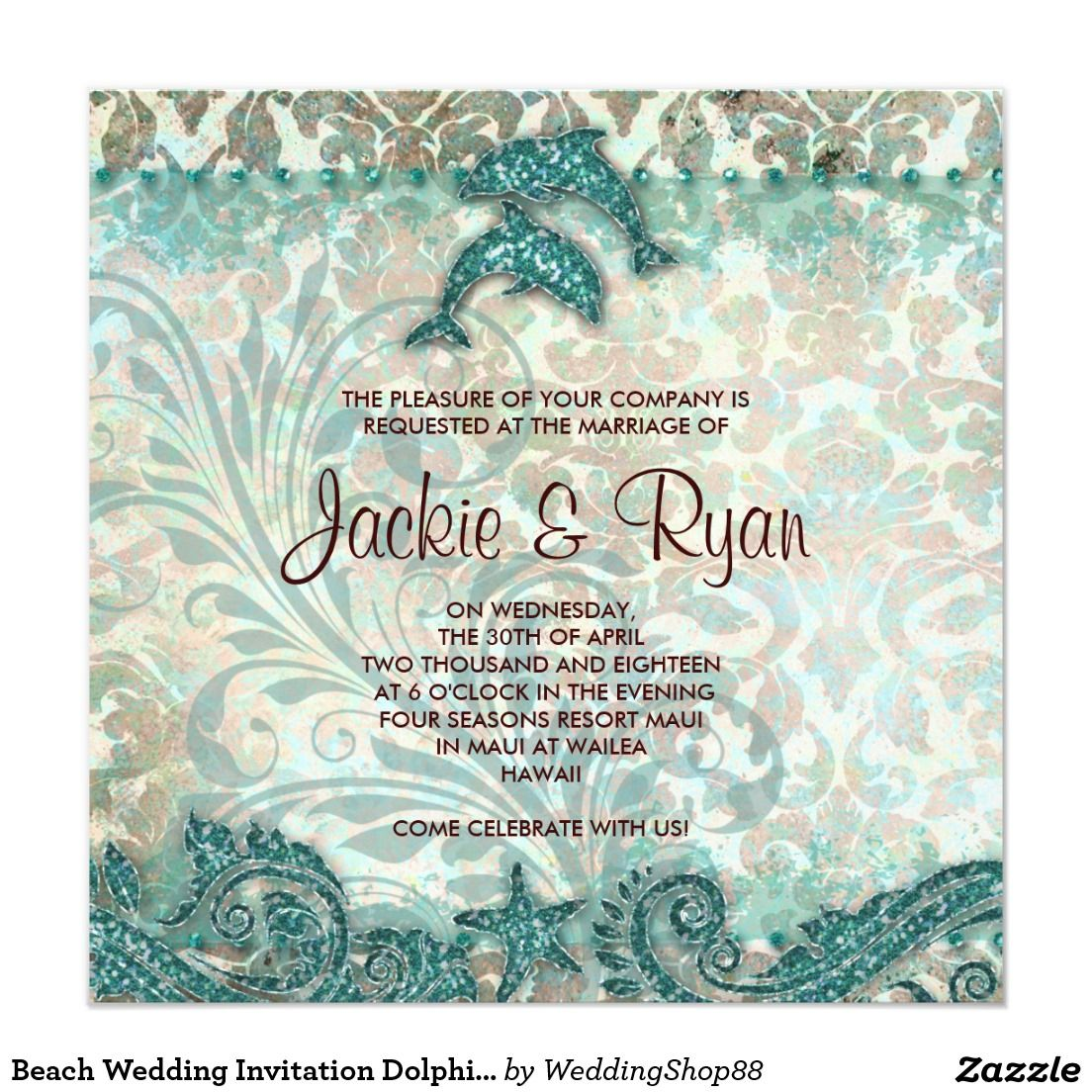 Beach Wedding Invitation Dolphins Vintage Teal Beach Wedding