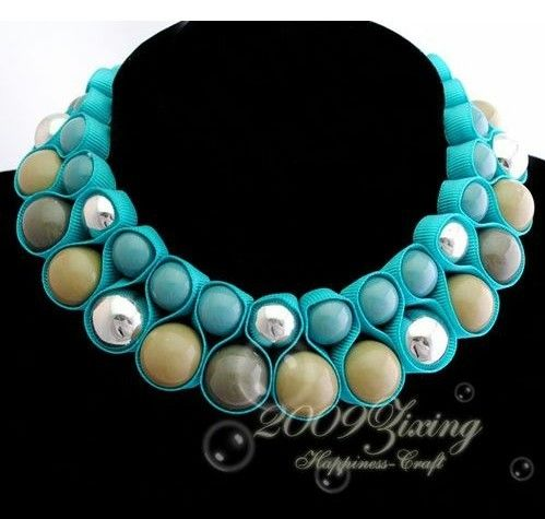 New Fashion Blue Rope Chain Colorized Round Resin Beads Necklace Noble ZXNL35 | eBay