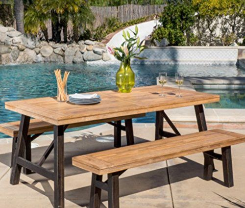 dining table set with bench wooden patio dining setspicnic table