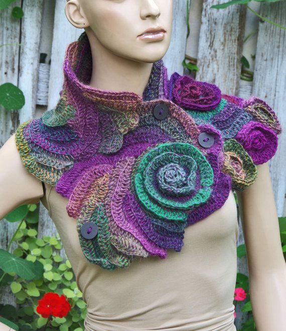 Crochet++Scarf+Freeform+Crochet++Flower+scarf+Capelet+by ...