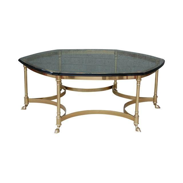 Image of La Barge Brass Rams Foot Cocktail Table