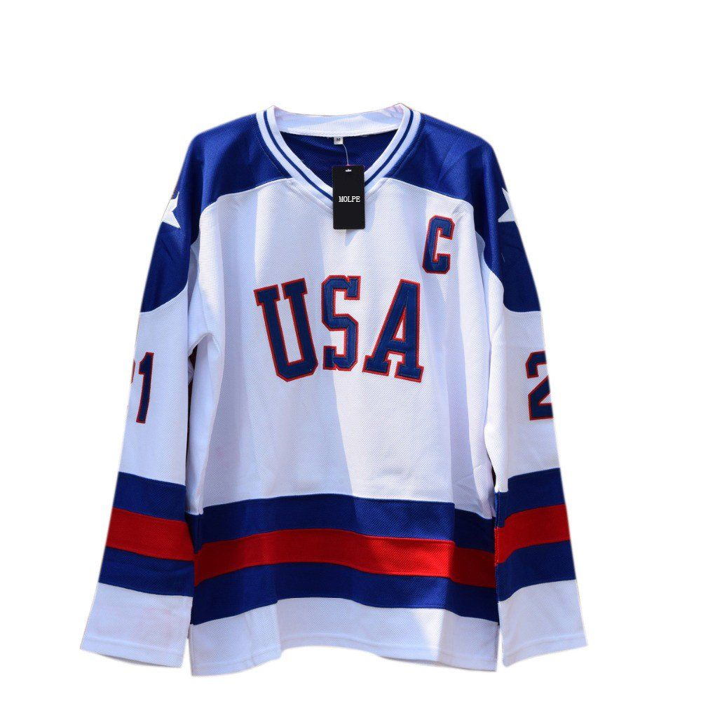 Buy cheap Mike Eruzione jersey online. This jersey is from the movie  Miracle on Ice. Free Shipping on all orders. Click here to see more jerseys  for sale. 6bb7af9b2