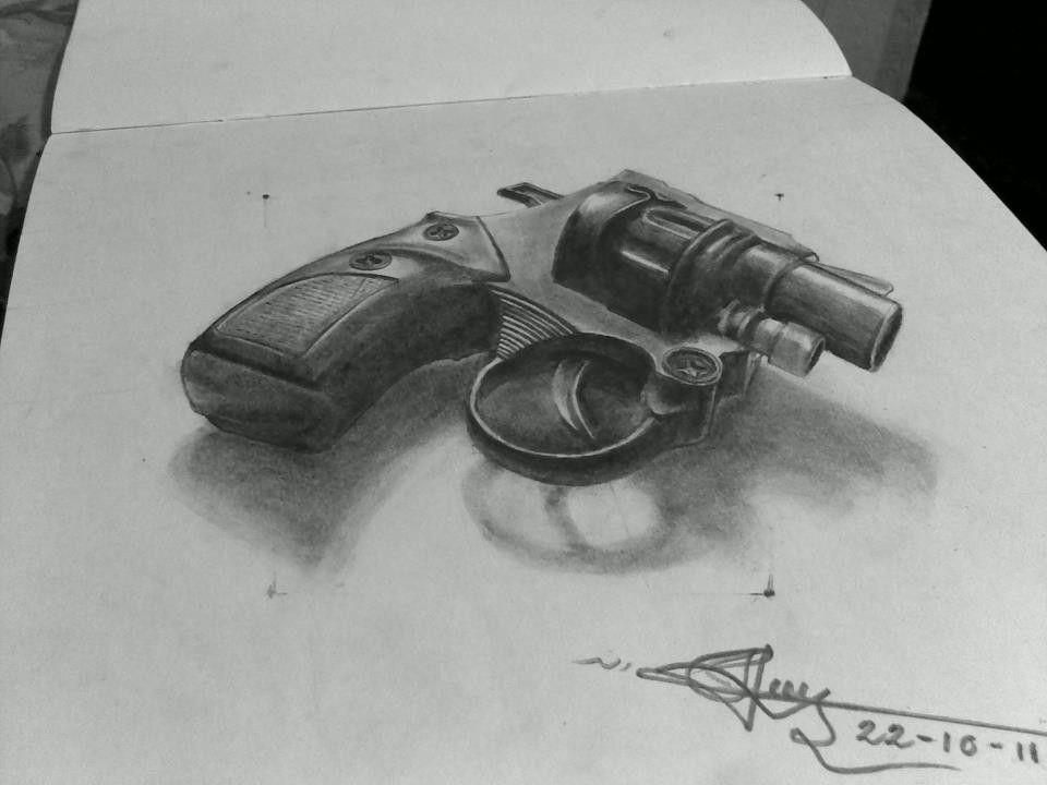 the 3d gun wonderful pencil drawing art