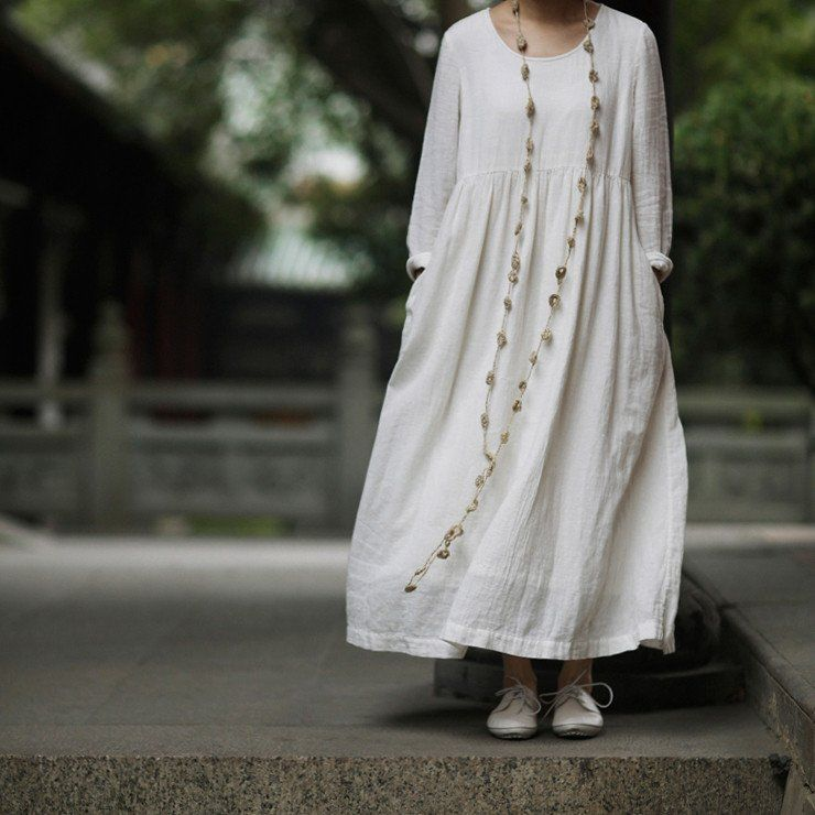 Cotton linen loose fitting white maxi dress long sleeve