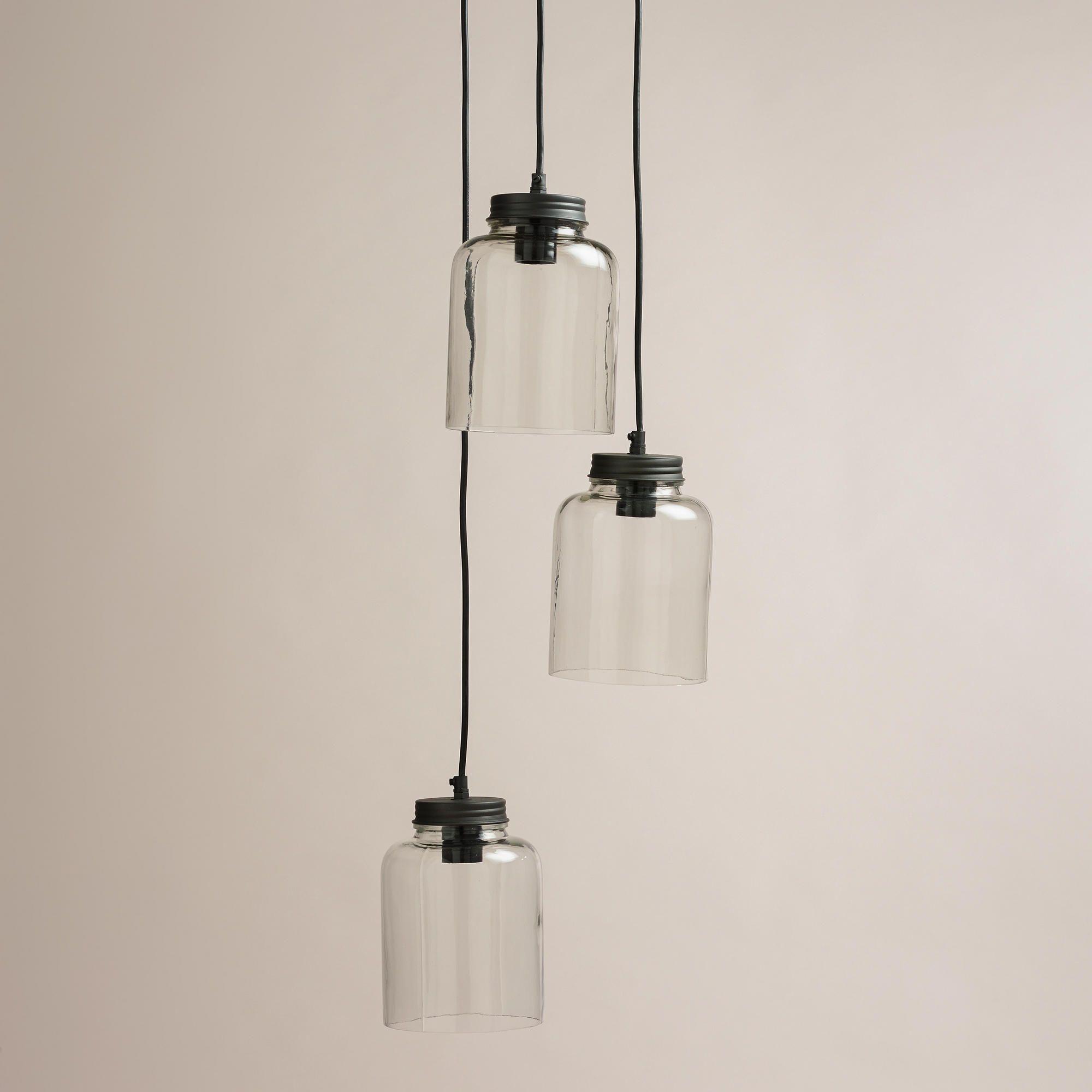 3 Jar Glass Hanging Pendant Lamp