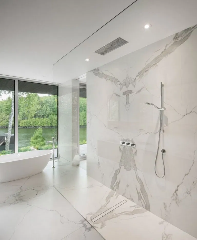 53 Relaxing Master Bathroom Shower Remodel Ideas In 2020 Modern Master Bathroom Modern Bathroom Design Bathroom Tile Designs