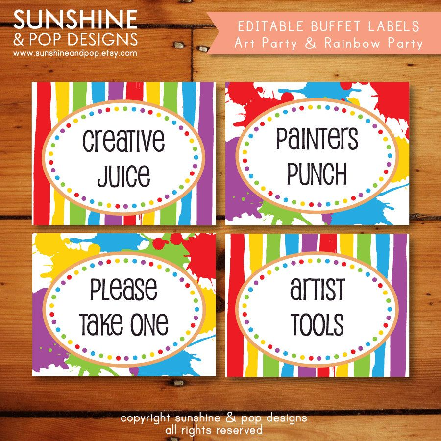 EDITABLE Rainbow Art Party Folding