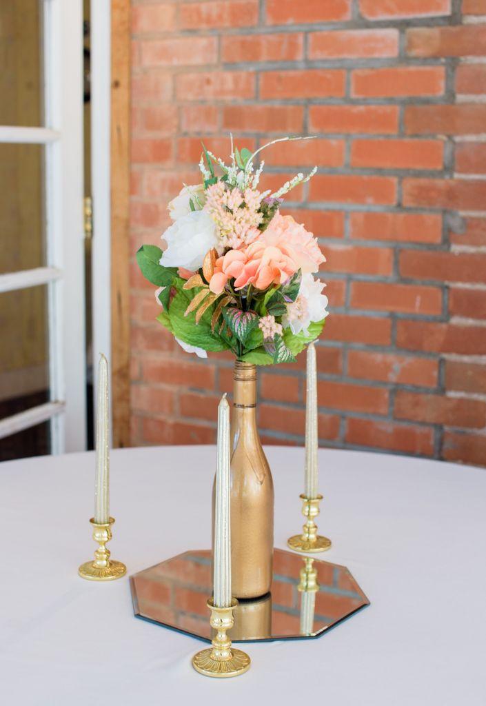 Porter and randi rose gold wedding theme ideas pinterest gold peach rose gold and cream diy wedding centerpiece for a tucson az 1920s themed wedding at z mansion junglespirit Images