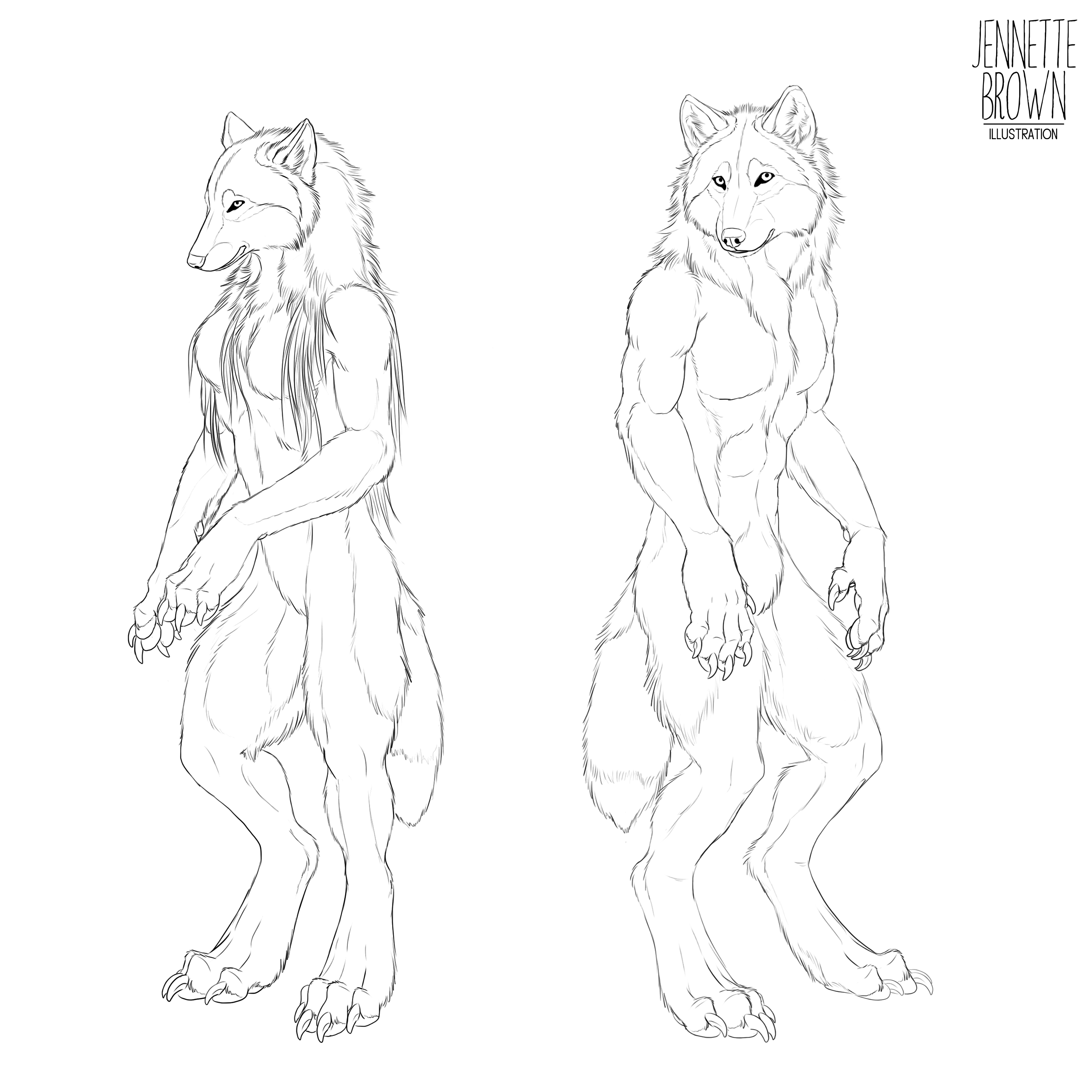 Male and Female Werewolf Free Lineart by sugarpoultry template