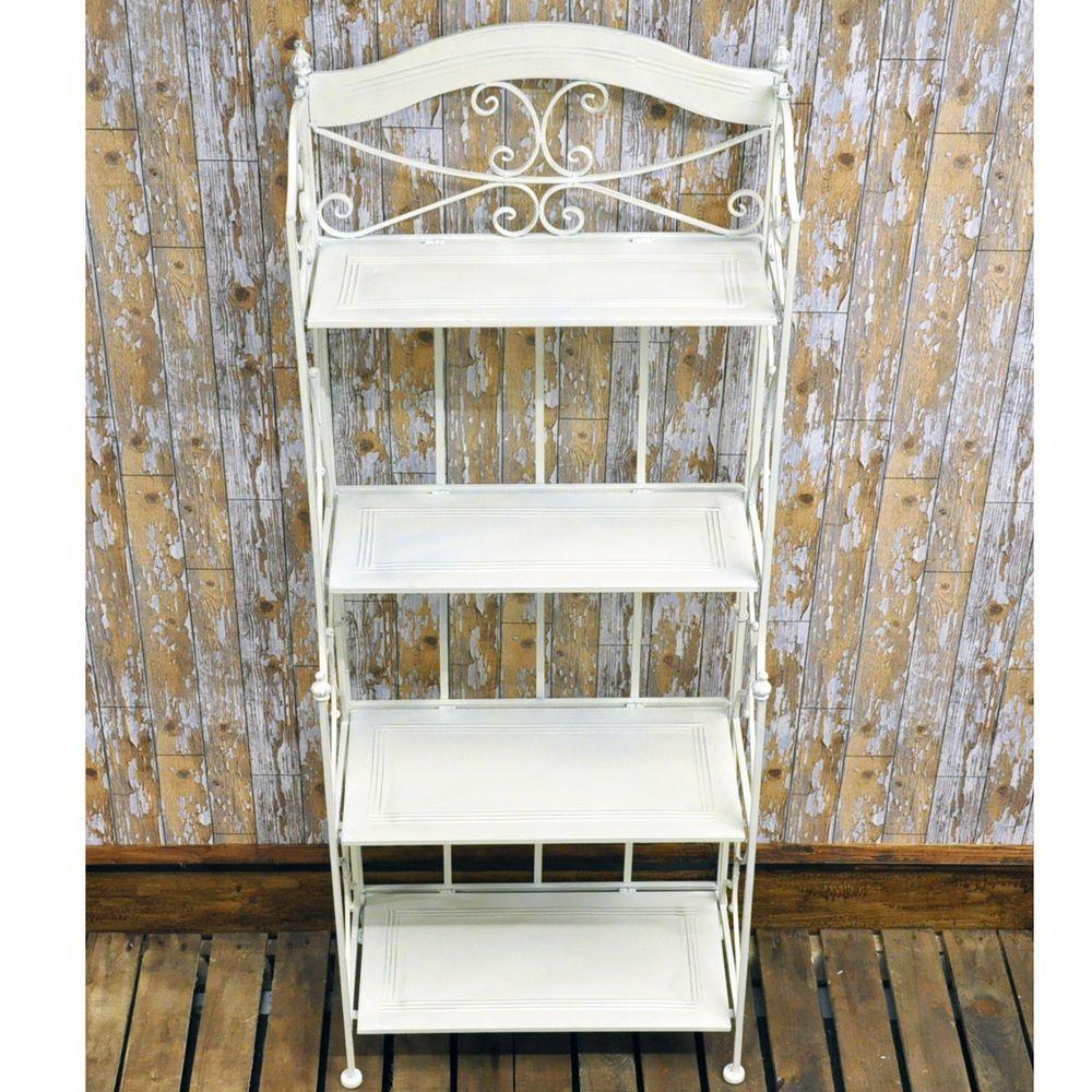 Vintage Style Wrought Iron Antique White Cream Metal Folding 4 Shelf Bakers Rack Metal Bookcase Wood Bookshelves Metal Shelves
