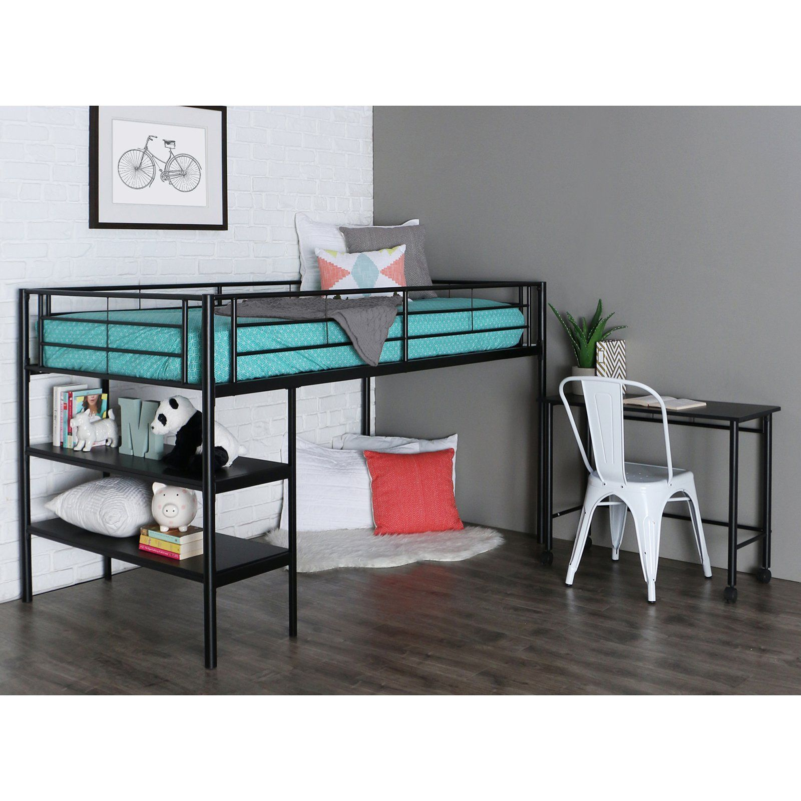the loft bed has two shelves integrated into the frame and provides additional storage space underneath a matching desk is included