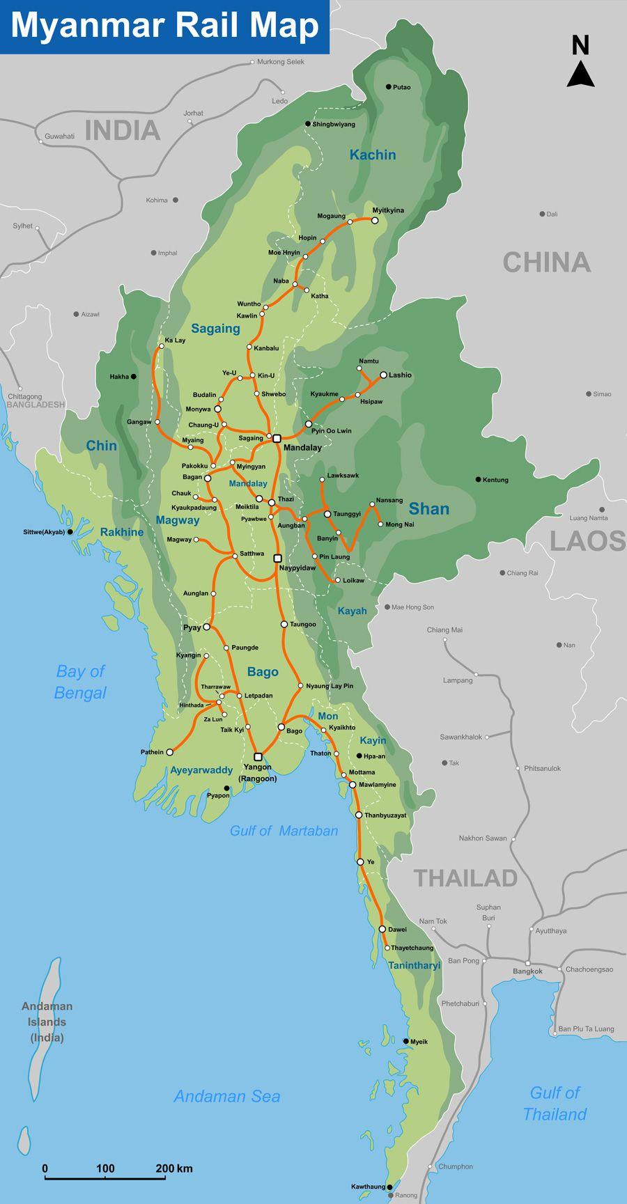 Myanmar rail map by seacitymaps