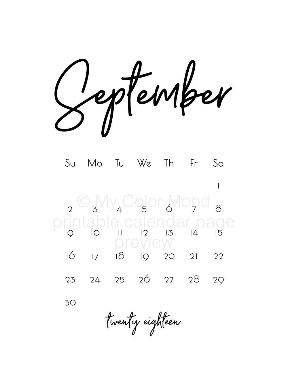 Office calendar 2018, Calendar download, Printable