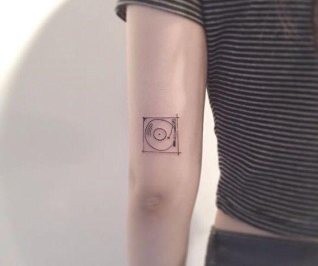 Record Player Minimal Tattoo Cute More