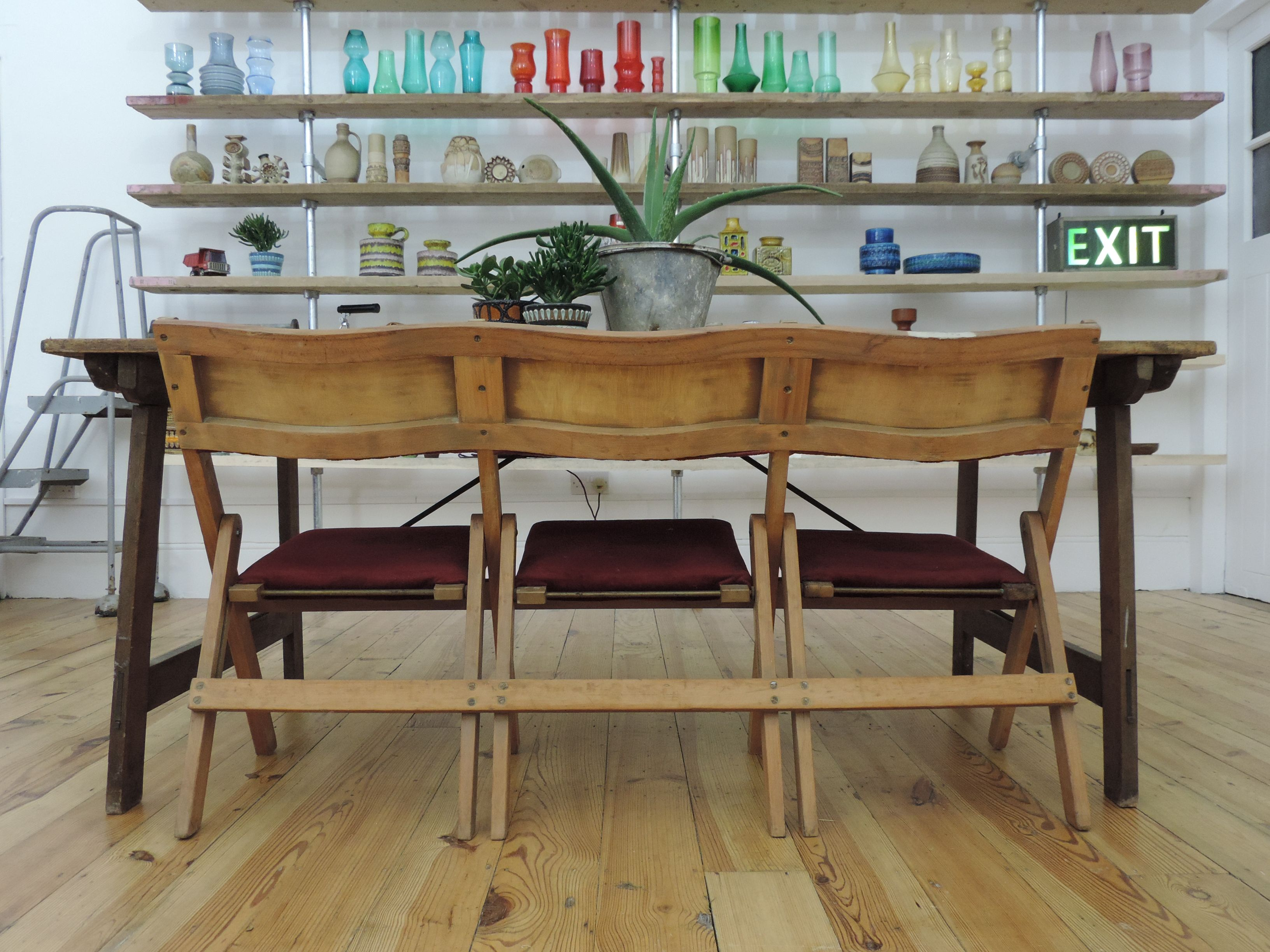 Art deco folding chairs warehouse apartment loft vintage industrial interiors