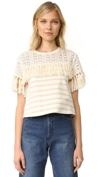f10fff1167 SEE BY CHLOÉ Striped Fringe Tee.  seebychloé  cloth  dress  top  shirt   sweater  skirt  beachwear  activewear