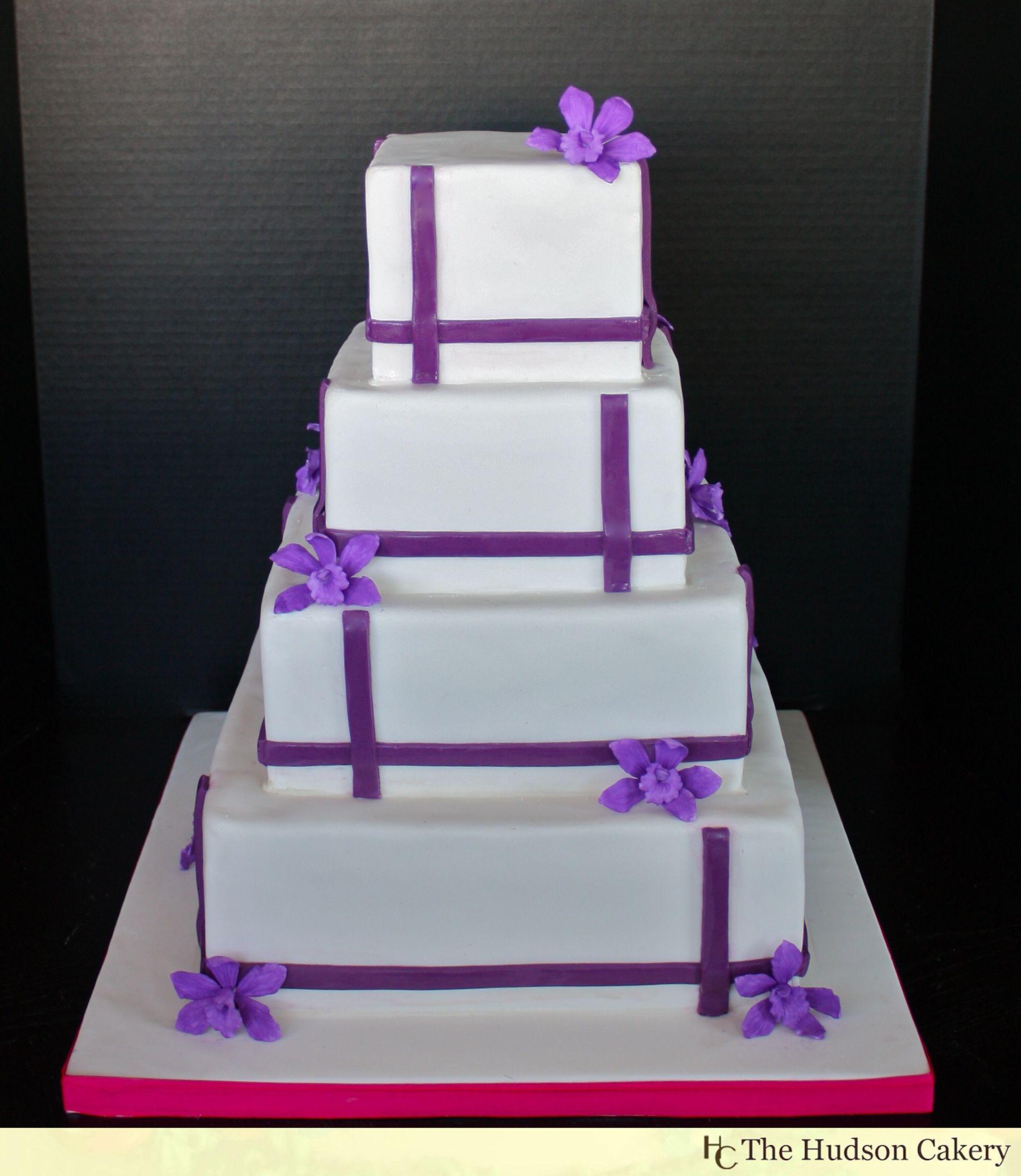 Blue And Purple Square Wedding Cake