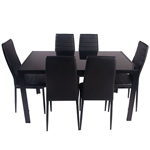 DESIGNER STYLE BLACK GLASS DINING TABLE SET WITH 6 FAUX LEATHER