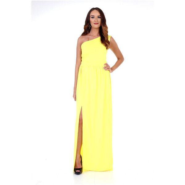 Yellow Maxi Women Dress e Shoulder Waistband Slit $85 ❤ liked