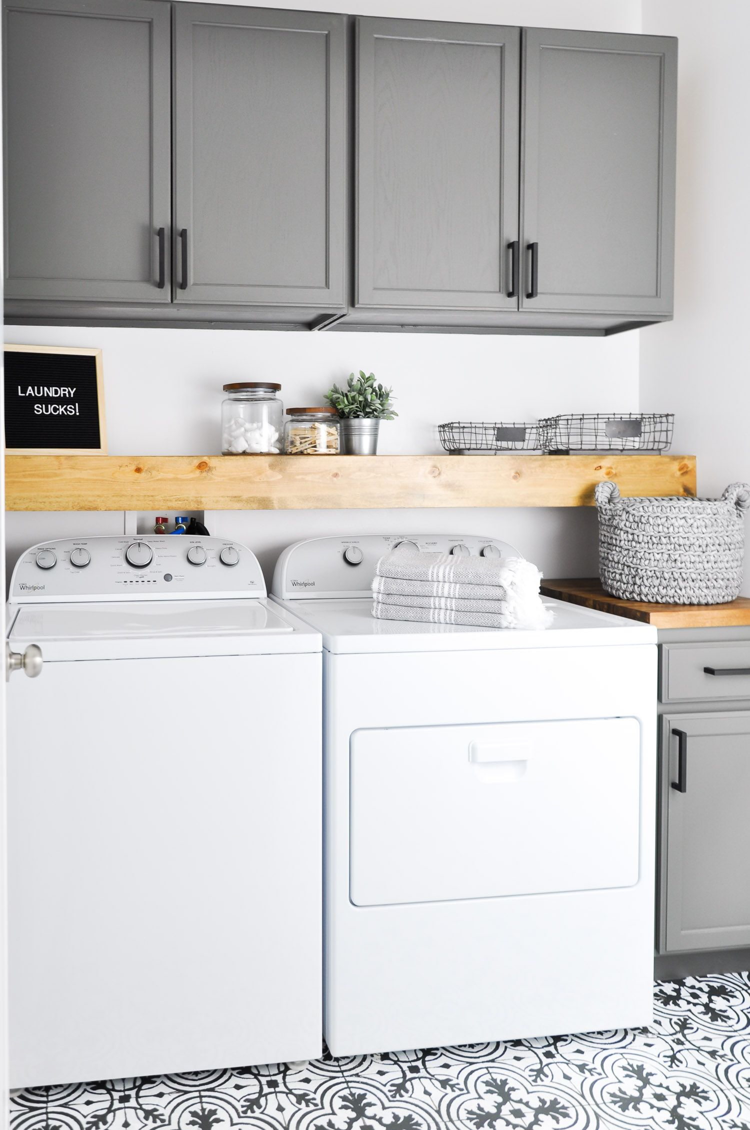 Do laundry in style in this Modern Farmhouse Laundry Room e see the transformation from