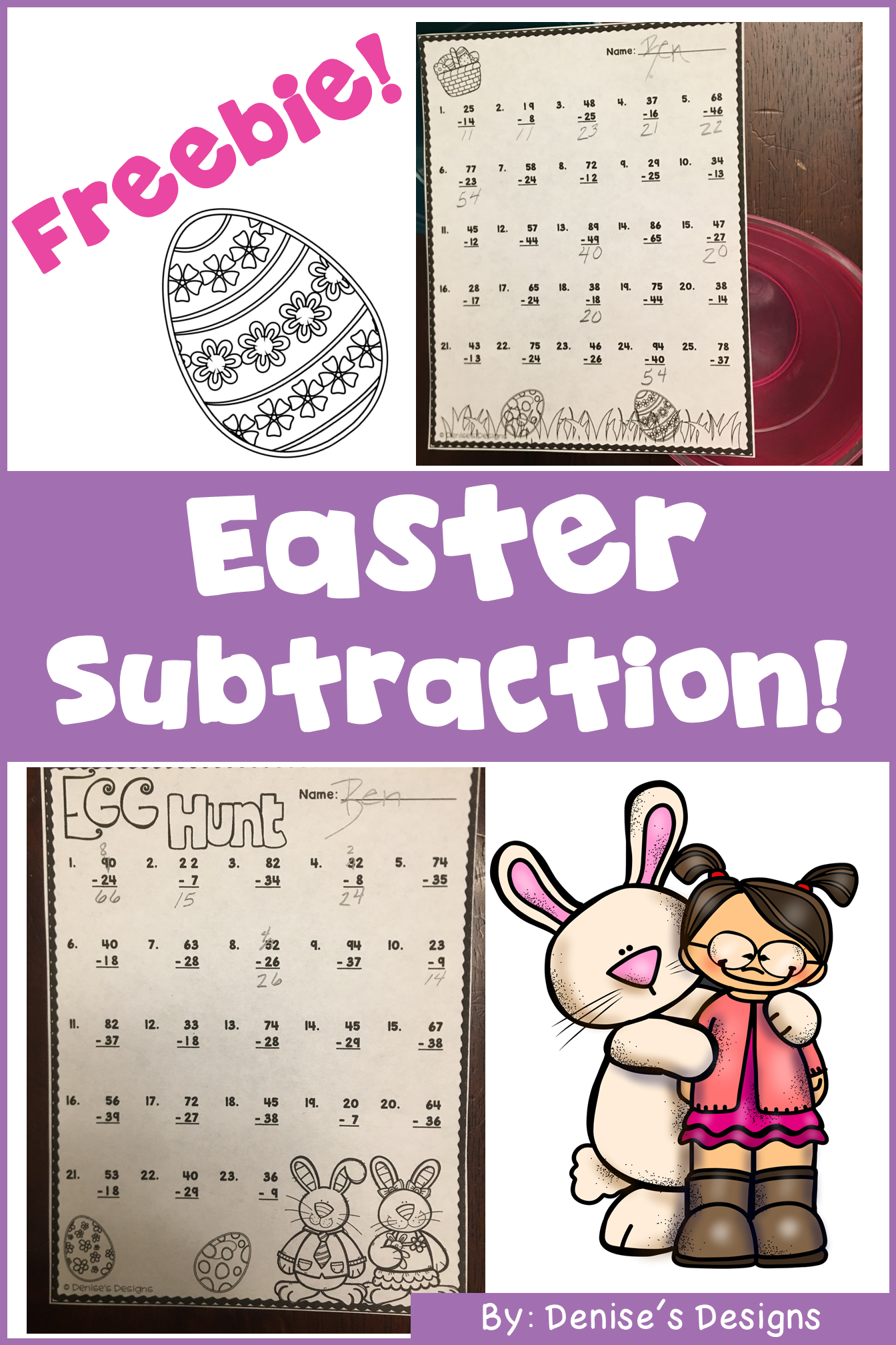 Double Digit Subtraction Worksheets Easter